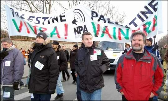 La LCR avec Olivier Besancenot maintiennent leur soutien au peuple palestinien